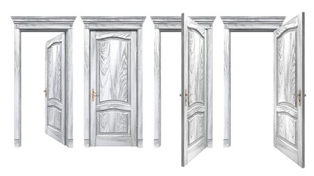 Open and closed gray doors with arched panels, cornice, columns. Old wooden doorways with vintage texture trim, isolated on white. High resolution 3D rendering with copy space Zdjęcie Seryjne