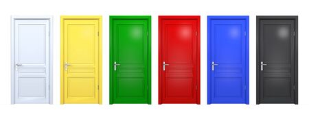 Set of black, blue, red, green, yellow doors isolated on white. Front 3D render of closed and open doorway in different color
