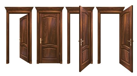 Closed and open brown wooden doors isolated on white. Oak natural hard wood entrance with arched panels, cornice, columns. High resolution 3D rendering of vintage entrance with copy space Zdjęcie Seryjne