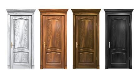 Set of black, brown, gray wooden doors isolated on white. Hard wood vintage doorway with trim, cornice, columns. High resolution 3D rendering of oak entrance with copy space