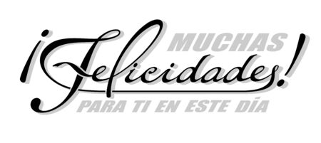 Handwritten lettering in Spanish language Muchas Felicidades - Congratulations. Vector calligraphy isolated phrase with shadow