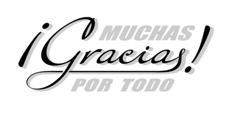 Handwritten lettering in Spanish language Muchas Gracias - Thank you very much. Vector calligraphy isolated phrase with shadow