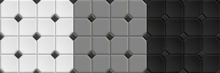Seamless checkered patterns of vintage ceramic floor. Repeating textures of white, black, gray wall tiles background
