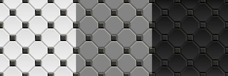 Seamless textures of black, white, gray ceramic floor. Vintage repeating pattern of rhombus tiles with square inserts