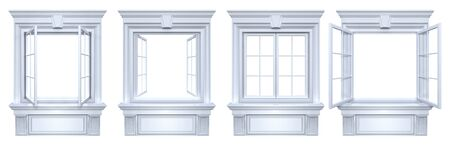 Closed and open vintage windows with classic decor. Set of openings with cornice frame isolated on white with copy space