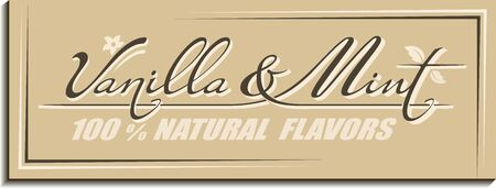 Calligraphic handwritten text Vanilla & Mint flavors with melissa leaves, flower, pod icon. Vintage concept design of brand name lettering
