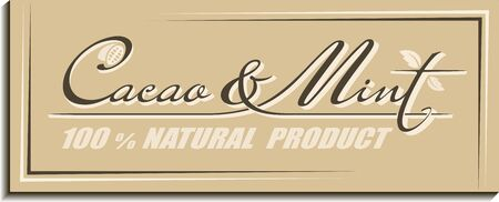 Calligraphic handwritten text Cacao & Mint with cocoa beans and spearmint leaves icon. Retro concept design of brand name lettering Ilustracja