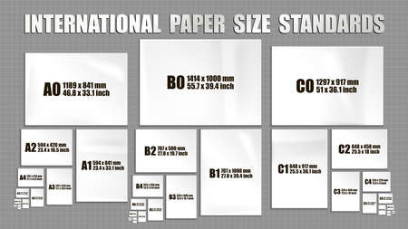 Full set of international ISO format standards of paper sheets series A, B, C. Mock up of realistic white paper pages in different sizes