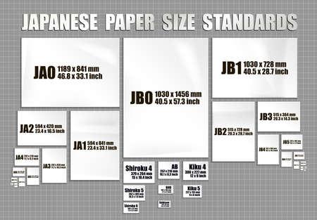 Full set of Japanese paper sheets standards Ilustracja