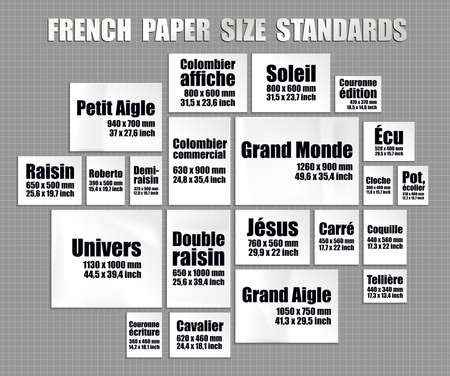 Full set of old France paper sheets standards. French mock up of realistic white pages in different real sizes and formats Ilustracja