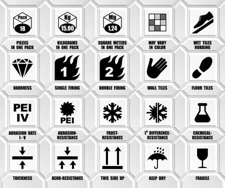 Full set of ceramic tiles packaging symbols with description. Package black square floor icons isolated on white wall. International standard ISO pictograms Vector Illustratie