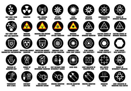 Full set of laser, X-ray, infrared, ultraviolet, optical radiation icons with international standard ISO description Vetores