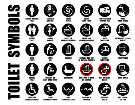 Vector collection of black WC pictograms isolated on white, Symbols of hand wash, water tap, mobile toilet, bath, shower, bowl, paper, bin icons Ilustracja