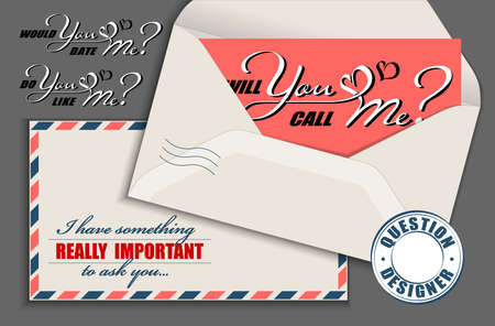 Hand drawn calligraphy lettering with copy space card and vintage envelope. Vector mockup constructor of questions. Will you call me. Would you date me. Do you like me Illusztráció