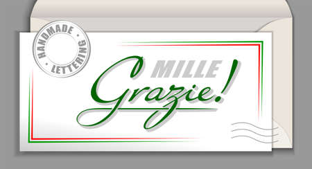 Handwritten Italian language lettering Grazie mille - Thank you very much. Italy vector calligraphy phrase Thank You so much isolated on white envelope card