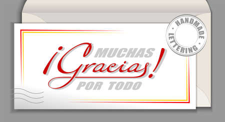 Handwritten lettering in Spanish language Muchas Gracias por todo - Many thanks for everything. Spain vector calligraphy phrase Thank you very much isolated on white envelope card