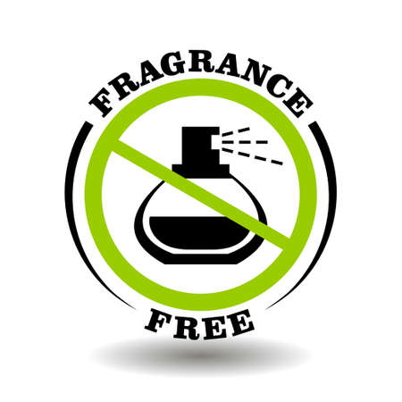 Fragrance free vector stamp with prohibited perfume bottle. Round icon for natural organic cosmetics packaging without synthetic scent and artificial smell