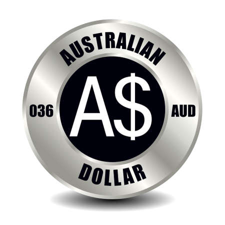 Australia money icon isolated on round silver coin. Vector sign of currency symbol with international ISO code and abbreviation