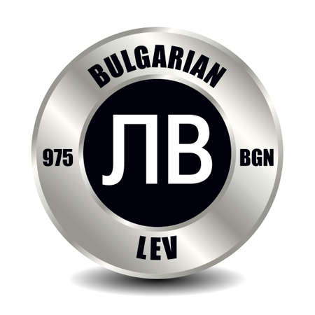 Bulgaria money icon isolated on round silver coin. Vector sign of currency symbol with international ISO code and abbreviation Vektoros illusztráció