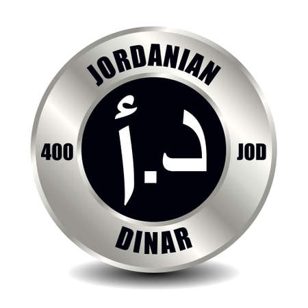 Jordan money icon isolated on round silver coin. Vector sign of currency symbol with international ISO code and abbreviation