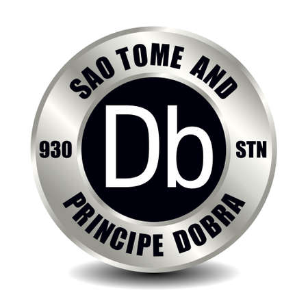 Sao Tome and Principe money icon isolated on round silver coin. Vector sign of currency symbol with international ISO code and abbreviation