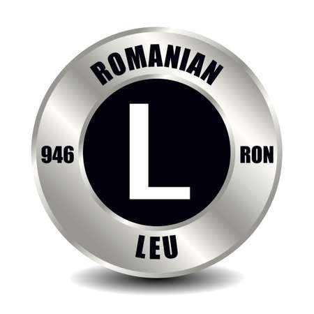 Romania money icon isolated on round silver coin. Vector sign of currency symbol with international ISO code and abbreviation Ilustración de vector