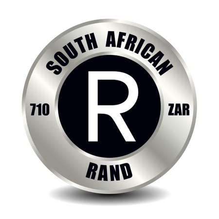 South Africa money icon isolated on round silver coin. Vector sign of currency symbol with international ISO code and abbreviation Illusztráció
