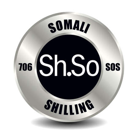 Somalia money icon isolated on round silver coin. Vector sign of currency symbol with international ISO code and abbreviation