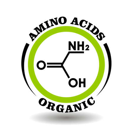 Circle vector icon with chemical formula of Organic Amino Acids symbol for packaging signs of cosmetics, tags of medical products with aminoacid ingredients