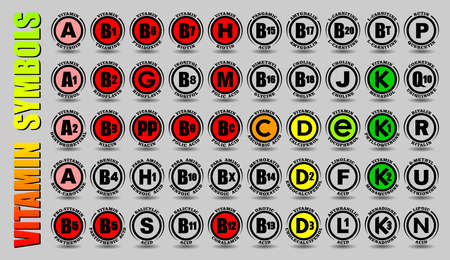 Full complex set of all vitamins A, B, C, D, E, K icons and non-vitamin F, G, H, J, L, M, N, P, Q, R, S, U signs with vector symbols and chemical element names