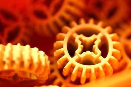 Plastic orange  gears  texture   photo