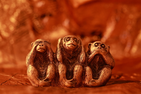 three objects: Morality, See no Evil Hear no Evil Speak no Evil, Monkey, Three Objects, Ape Stock Photo