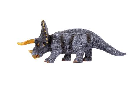 paleontology: Dinosaur Toy Triceratops, isolated at white background