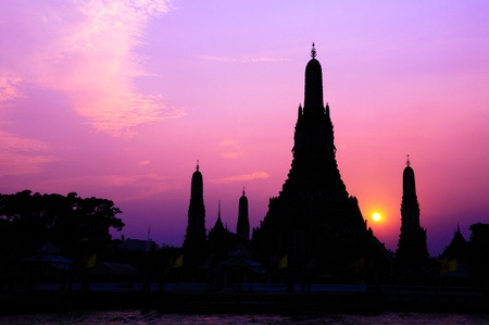 Traditional Thai style architecture silhouette with sunset