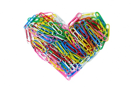 Heart of coler paper clip isolated on whitebackground photo