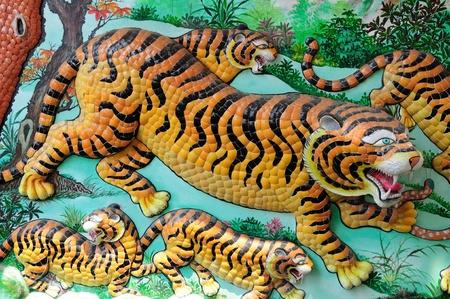 closeup of tiger on wall