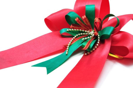 Closeup Red Ribbon Isolated on white background Stock Photo - 10945637