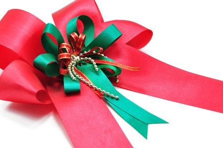 Closeup Red Ribbon Isolated on white background Stock Photo - 10945643