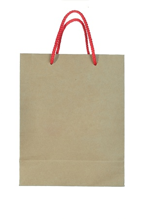 Recycled paper bag isolated on white background photo