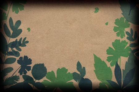 Leaves on Brown Paper Stock Photo - 10990530