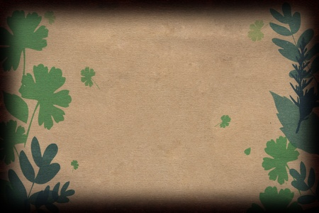 Leaves on Brown Paper Stock Photo - 10990531