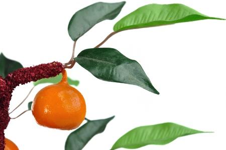 Fake orange tree isolated on white background