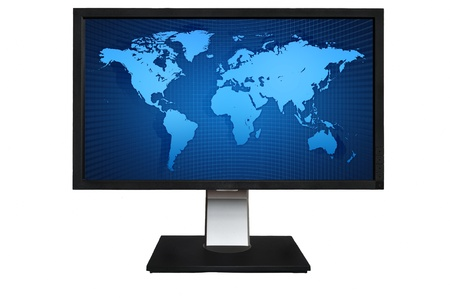 Computor LCD Monitor with blue world map isolated on white background