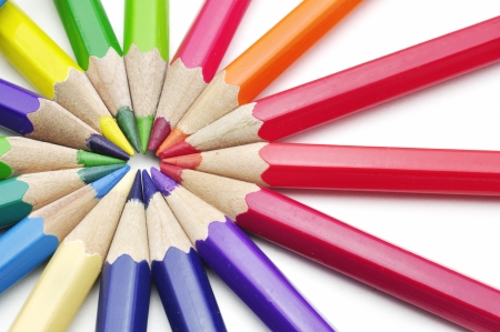 color pencils isolated on white background Stock Photo