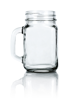 Empty drinking jar  mason. Isolated on white background with clipping path