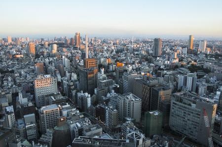 View of Shibuya skyline from Shibuya Hikarie , Tokyo Japan. Banco de Imagens