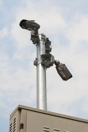 Camera cctv with blue sky.