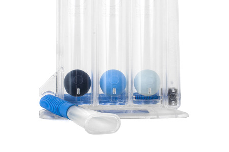 Triflow incentive spirometer for inhalation exercise. isolated on white background.