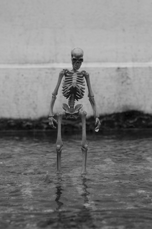 Alone Skeleton standing on the flooding floor. Black and white style.