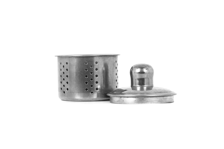 Tea Strainer, a part of tea kettle, isolated on white background. Banco de Imagens - 57260497